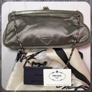 Prada Raso Satin & Leather Trim Silver Clutch Bag